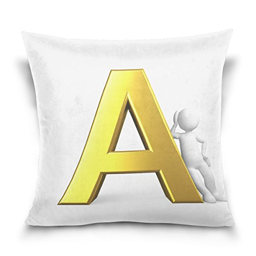 Josid Kissenbezüge, quadratisch, doppelseitig, Alphabet, Alphabet, ABC Weiß, 40,6 x 40,6 cm, unsichtbarer Reißverschluss, Heimdekoration für Couchbett 16x16 Inches Image86596 -