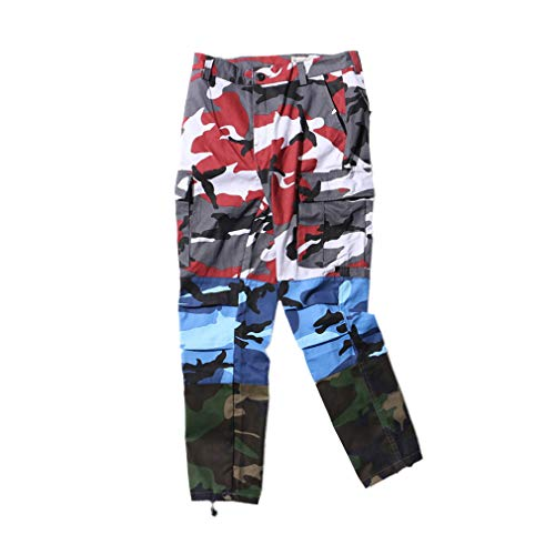 Mxssi Tri Farbe Camo Patchwork Cargo Pants Männer Frauen Baggy Taktische Hosen Hip Hop Casual Multi Pocket Pant Camouflage Streetwear Rot+Blau+Grün S - Cargo-hosen Frauen Camo