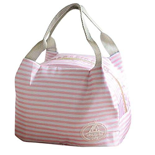 Coloré(TM) Sac Isotherme Portable Sac à Déjeuner Sac de déjeuner portatif thermique isolé de sac de pique-nique de rayure de toile froide isolé (Rose)