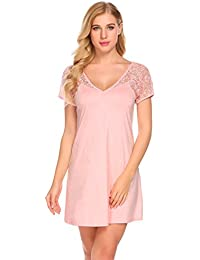 57c6a7282e Adome Women s Nightdress Short Sleeve Nightgown V-Neck Lace Sleepwear