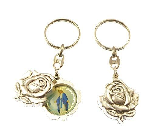 Portachiavi Argento a Froma Di Rosa che Si Apre Miracolosa Vergine Maria Misura 8cm Idea Regalo - Miracolosa Vergine