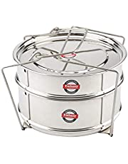 Embassy SS Cooker Separator Suitable for Hawkins Classic Inner-Lid Pressure Cookers, (Container Set with Lifter, Stainless Steel)