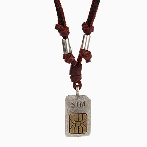 Collar Cobre Cruz Colgante Cuero Cuerda Collar Tarjeta