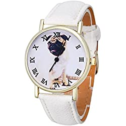 Reloj unisex correa de cuero dorado romano números perro Pug de colour blanco