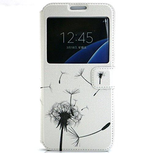 Leder Flip View Hülle Ständer Etui per Samsung Galaxy S7 edge G9350, yihya Slim Leather Window Book Case Ledertasche Wallet Halter Cover Klapphülle Folio Schutzhülle mit - Uhr Halter Stift