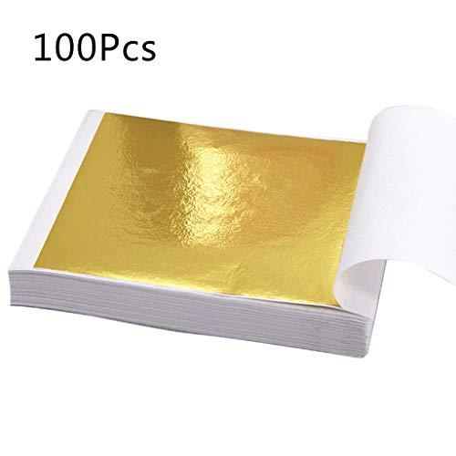 Sitonelectic 100 Blatt Blatt-Imitation Gold Silber Folie Papier für Kunst Projekt Basteln DIY Dekoration gold -