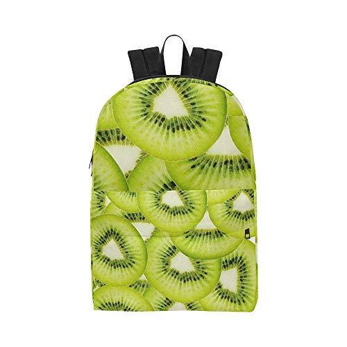 Grüne Frucht-Kiwi-Scheibe Klassischer Netter wasserdichter Daypack sackt Schulehaus-Kausale Rucksäcke Rucksäcke Bookbag für Kinder Frauen und Männer Reisen mit Reißverschluss und Innentasche EIN -