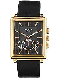 FOCE Black Square Analog Wrist Watch for Men with Black Genuine Leather Strap - F729GRL-BLACK