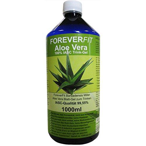 ForeverFit Aloe Vera Trinkgel, 1 x 1000ml #30240 | 100% Barbadensis Miller Blattgel UNVERDÜNNT | KEIN SAFT. KEIN Konzentrat | OHNE künstliche Vitamine | Acemannan bis 1200mg/Liter.
