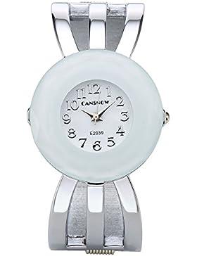 JSDDE Uhren,Damen Armbanduhr Chic Manschette Damenuhr Spangenuhr Hohl Band Armreif Armkette Uhr Quarzuhr,Silber...