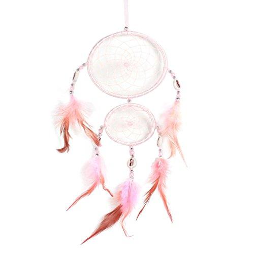 Hunpta faite à la main en dentelle Dream Catcher plumes Perle Décoration à suspendre Ornement Cadeau rose