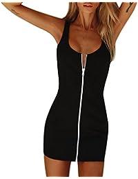 c0a311dd2c3 Damen Kleid Forh Kurz Minikleider Rundhalsausschnitt Ärmel Sommer Sexy Silm  Backless Abendkleider Frauen Cocktailkleid mit Reißverschluss