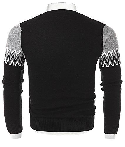 Mocotono Herren Munster Strickpullover Sweatshirt Top V-Ausschnitt aus Baumwolle Schwarz 2