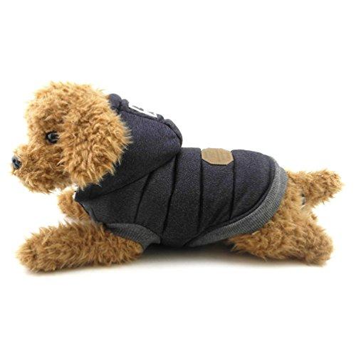 smalllee_lucky_store Fleece gefüttert Hundemantel mit Kapuze Stilvolle Winter Hund Kleidung, groß, blau, XXL, blau