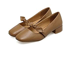 Pump 2.5cm Chunkly Heel Low-Heels Mary Jane Ballerina Flats Casual Schuhe Frauen Retro Square Tow Bowknot Pure Farbe Court Schuhe Fahrschuhe Oma Schuhe Eu Größe 35-39 ( Color : Brown , Size : 39 )