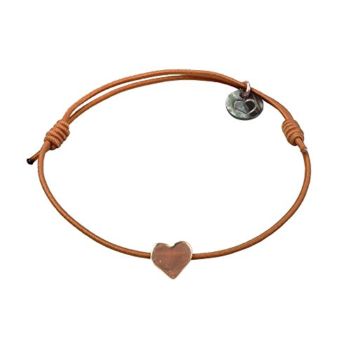 lua accessories - Armband Damen - Elastikband - größenverstellbar - hochwertig vergoldetes Herz - Mini Heart Rose (Cognac)