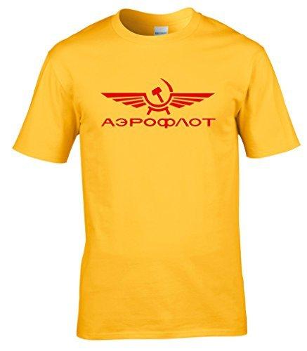 2004 Gelben T-shirt (naughtees Kleidung Aeroflot Russisch Fluglinie T-Shirt Klassisch retro Logo gerade von DIE KALTEN KRIEG - Gelb, Large)