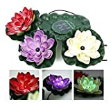 Bazaar Solar Power LED Floating Lotus Licht Nacht Teich Garten Brunnen Pool Blumen Lampe