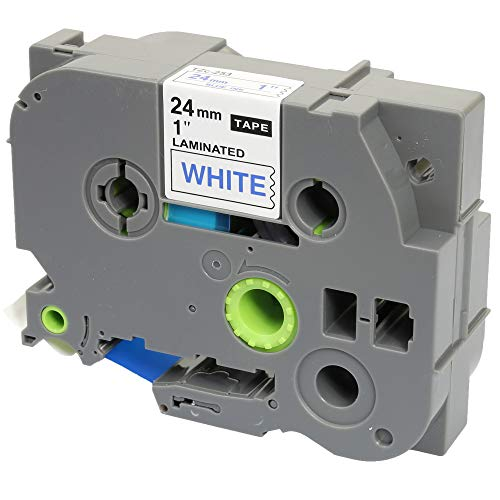 Compatible TZ-253/TZe-253 Blue on White Label Tape (24mm x 8m) for Brother P-Touch Label Printing Machines