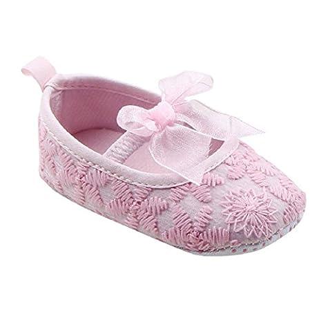Auxma Baby-Schuhe Für 0-18 Monate Baby Mädchen Soft Sole Crib Schuhe Sneaker Baby Schuhe (13cm(12-18M), Rosa)