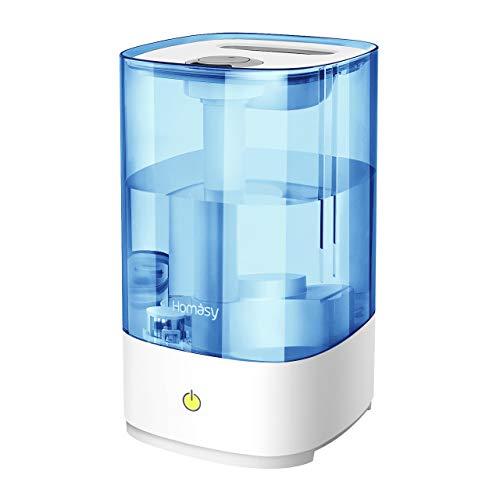 Homasy Ultraschall Luftbefeuchter, 4.5L Top-Füllung Humidifier bis zu 40-50m², Ultra Leise Raumluftbefeuchter, Luftbefeuchter Schlafzimmer mit Schlafmodus, 30h Arbeitszeit-Blau