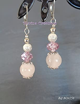 Boucles d'oreilles crochets dormeuses acier inoxydable, quartz rose véritable, swarovski rose ancien, perles stardust