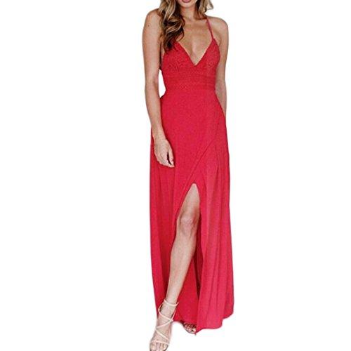 MRULIC Lange Maxi Kleid Womens Lace Camisole Red Backless Chiffon Ärmelloses Strandkleid(Rot,EU-42/CN-XL) (Womens Cap T-shirt Sleeve Wahl)