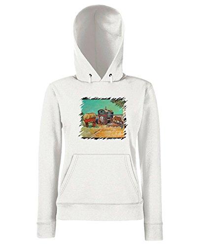 T-Shirtshock - Sweats a capuche Femme TDA0138 van gogh209 campo di zingari con carrozzoni Blanc