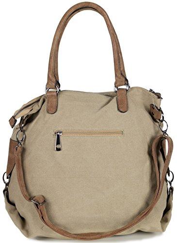 L&S Collection Shopper Tasche mit Stern | Große Handtasche aus Canvas Stoff mit Schulterriemen (50 x 37 x 20 cm) Khaki Beige