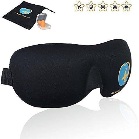Antifaz para Dormir ✮ Travel Earth ✮ la máscara ergonomica de viaje contorneada 3D ultra suave de alta calidad. Antifaz especial para Viaje/Trabajo/Casa/Hotel + Gratis : Bolsa de transporte ofrecida + Tapones para oidos (Antifaz de color negro)