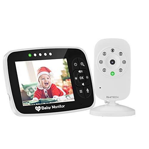 Video Baby Monitor Babyphone mit Kamera babyfon Gegensprechfunktion KIWITECH Digital kabellose Überwachungskamera (Schlafmodus, Nachtsicht, Temperatursensor, Schlaflieder), 3.5 Zoll LCD Display