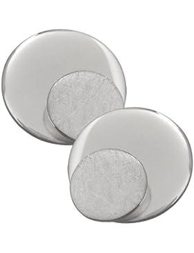 Vinani Damen-Ohrstecker doppelter Kreis gebürstet glänzend Sterling Silber 925 Ohrringe ODK