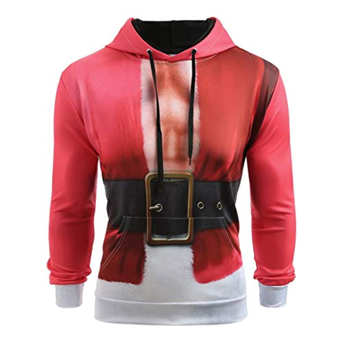 Setsail Herren Weihnachtsanzug Muster 3D Print Langarm Hoodie Caps Sweatshirt Pullover Bequemes Top Hooded Lightweight Pullover