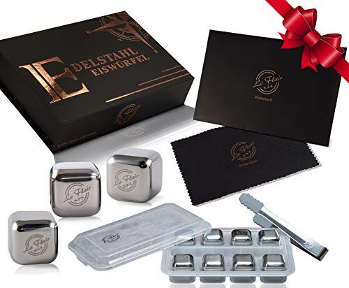 Le Flair Premium Edelstahl Eiswürfel Set -mit unglaublicher Kühlleistung- XXL Set mit 8 Whisky Steine aus Metall, Magnetbox, Zange, Einfrierbox und Poliertuch