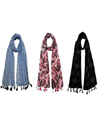 FusFus Women's Cotton Scarf (FB24, Multicolour, Free Size) - Pack of 3