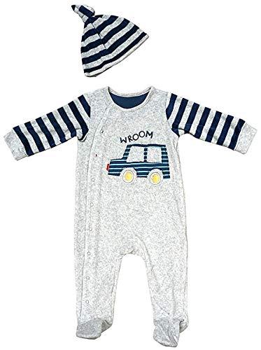 GetWivvit Baby Vroom Motor Auto Schlafanzug Strampler & Hut Set Größen von Winzig Früh Baby bis 9 Monate - Mehrfarbig, 3-6 Months (Winzige Motor)
