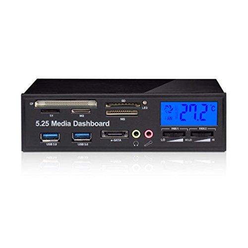 REFURBISHHOUSE Multifunktionale Medien-Panel 5,25 Zoll Computer Vorder Fuss Armaturenbrett mit SATA/eSATA, USB 2.0 / USB 3.0, Mikrofon/Kopfhoerer Audio-Ports und integriertem Kartenleser (XD/MMC)