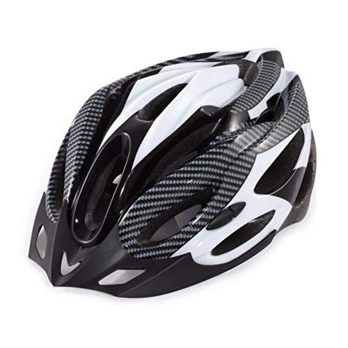 CAheadY Fibra de Carbono de Moda a Prueba de Golpes Casco de Ciclismo de Bicicleta de montaña Ajustable White