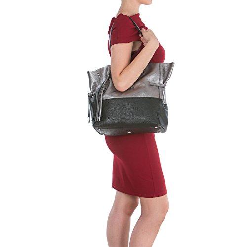Arcadia Designer Kiara Große Metallic-Hobo-Tasche aus Leder Silber und Schwarz