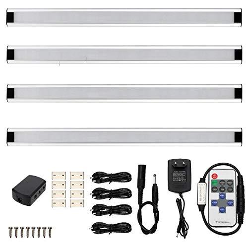 GreenSun LED Lighting 5W 50cm Alu Slim Line Kaltweiß 4er Led Unterbauleuchte dimmbar Lichtleiste Strip Schranklampe mit 11 Taste Fernbedienung für Küche Schrank Vitrinenbeleuchtung -