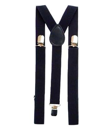 Plain Coloured Trouser Braces Suspenders - Black, White, Red (Black)
