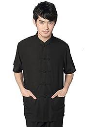 JTC Hommes Chemise Kung-fu Rétro Vêtement Chinois Veste Manches Courtes noir