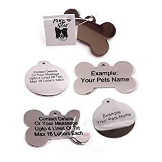 Pet ID Tags Personalised Engraved Polished Stainless Steel Dog Cat By PawGear (Bones Polished, Medium/Large- Both Sides Engraved)