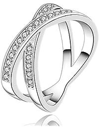 Bague anneaux multiples - Oxyde de Zirconium - Plaqué argent sterling 925/00 - Bijou fantaisie haut de gamme - Entrelacs - Blanc - Diane 58 - Cadeau Femme pas cher - Taille 58