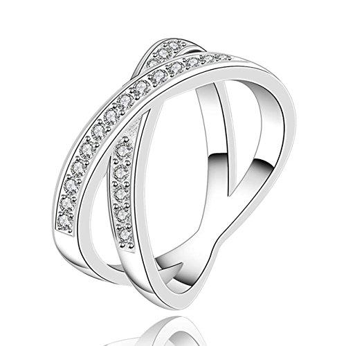 Mes-Bijoux-Bracelets Bague Anneaux Multiples Oxyde de Zirconium Plaqué  Argent Sterling 925  593a55e48cce