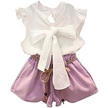 Conjuntos de ropa, Dragon868 2018 Bebé niñas ropa formal bowknot chaleco + pantalones cortos