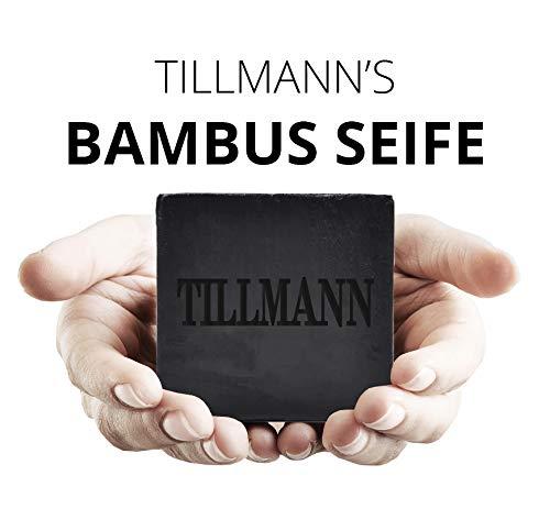 Natürliche Schwarze Seife I Bambuskohle Handgemachte Seife I Naturseife reinigt Ihre Haut porentief I Entschlackender Gesicht & Körperreiniger I Gegen Akne Ekzem I Naturprodukt von Tillmann's