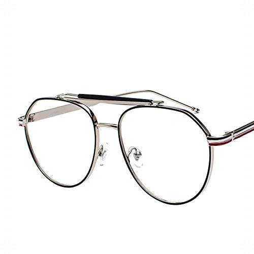 Large Oval Metal Retro Emaille Brillengestell Flacher Spiegel für Männer und Frauen. Brille (Farbe : Silver-Black Frame)