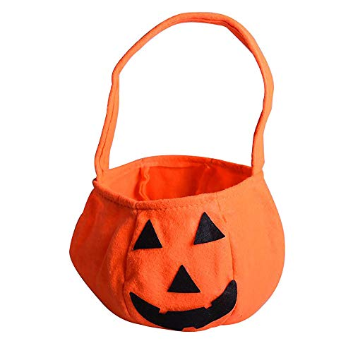 Luoartsu Treat Beutel Halloween Kürbis Tasche, Kinder Candy Bag Tote Bag Handtasche Trick Goody Bucket für Halloween Party Kostüme Orange Partei-Festival-Dekor