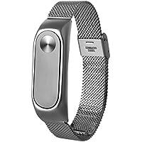 Para XIAOMI MI Band 2, ❤️ Manadlian Correa de reloj inteligente Moda Ligera correa de acero inoxidable Para Xiaomi Miband 2 (Plateado)